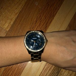Fossil watch - gold with navy blue face